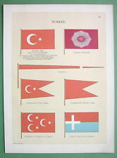 TURKEY National & Naval Flags Samos Island Commodore  - 1899 Color Litho Print