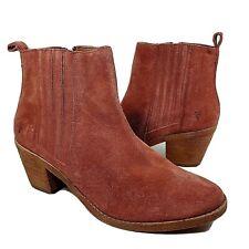 Frye women Ankle Boots Alton Chelsea 70349 Rosewood rust Suede Zipper Sz 9 New