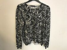 Marks and Spencer M&S Collection Black and White Fine Knit Cardigan Jumper 10-22