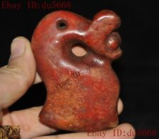 Antiques China Hongshan Culture jade carved Dragon jade ax amulet Pendant statue
