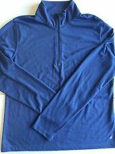 LL Bean Women's Small Blue Pullover Top 1/4 Zip Activewear Long Sleeve