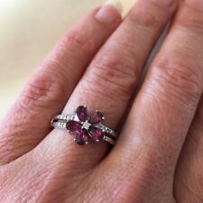 Rhodolite Genuine Garnet CZ Flower Ring Sterling Silver 925 Sz 8