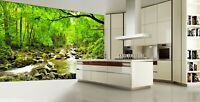 3D Fall Forest Stream Smolny Landscape Self-adhesive Bedroom Murals Wallpaper