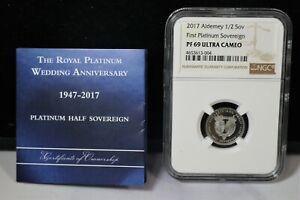2017 Aldemey 1/2 Sov Platinum Sovereign first platinum NGC PF69 Ultra Cameo COIN