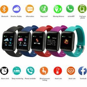 Black Smart Watch Bluetooth Heart Rate Blood Pressure Monitor Fitness Tracker