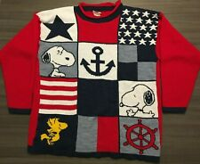 VTG Snoopy And Friends Womens Sz Large Red White Blue Stars Nautical Sweater USA