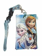 Disney Frozen Elsa Anna Olaf ID Holder Lanyards Detachable Coin Purse - Teal