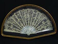 Antique Framed 19 c Victorian Point De Gaze Belgian Lace Pearl Hand Fan