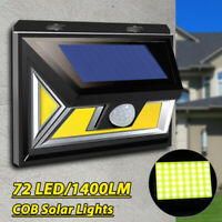 72COB LED Solar Power Wall Light 120° PIR Motion Sensor Garden Path Lamp Outdoor