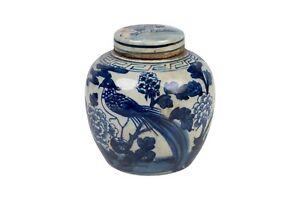 "Blue and White Bird and Floral Porcelain Ginger Jar 6"""