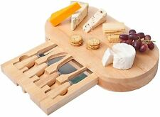 Oval Slide out Drawer Wooden Cheese Board & Kitchen Knives Service Set