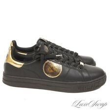 NIB Versace Jeans Couture Black Leather Pebbled Gold Coin Low Sneakers Shoes 44