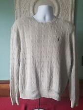 Polo by Ralph Lauren Men's L 100% Silk Beige Cableknit Sweater Large