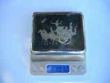 Vintage Sterling Silver 925 Niello Dancer Siam Elephant Warrior Cigarette Case