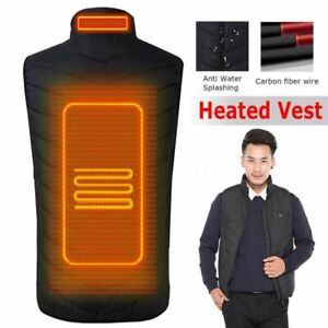 Men Infrared Heating Vest Jacket USB Fall Winter Carbon Fiber Electric Thermal