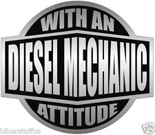 DIESEL MECHANIC WITH AN ATTITUDE (LOT OF 3) STICKER WHITE AND BLACK HARD HAT
