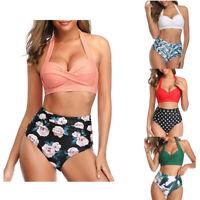 Women's Push Up Two Piece Padded Bikini High Waist Swimwear Beach Bathing Suits