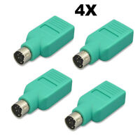 4PCS USB PS/2 Male to USB Female Adapter Converter For PS2 Mouse & Keyboard