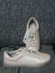 M&S Kids Girls Pink Lace Up sparkly Trainers  UK 2 glitters RRP £22 New EUR 34.5
