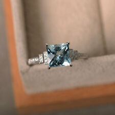 14K White Gold 2.05 Ct Princess Natural Diamond Real Aquamarine Ring Size N H I