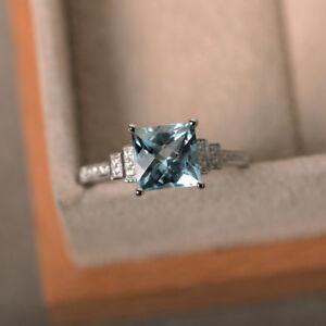 Solid 18K White Gold 2.05 Ct Princess Natural Diamond Aquamarine Ring Size M N P