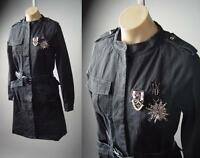 Black Military Industrial Goth Punk Belted Long Jacket Trench 286 mv Coat S M L