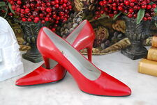 CARLOS FALCHI RED LEATHER CLASSIC POINT TOE HIGH HEEL WOMEN'S PUMP SHOES  SZ 7 M