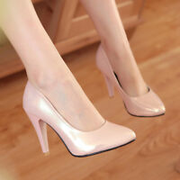 Women Pointed Toe Slip On Patent Leather Pumps High Heels Party Work Shoes 35-43
