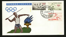 BELGISCH RUANDA OLYMPIC FDC BELGIAN RUAND ZWEI TWO FDC COVERS SOCCER FOOTBALL