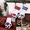 Plaid Christmas Gift Bags Pet Dog Cat Paw Stocking Socks Xmas Tree Ornaments