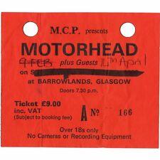 MOTORHEAD Concert Ticket Stub GLASGOW SCOTLAND 4/14/91 BARROWLANDS UK 1916 TOUR