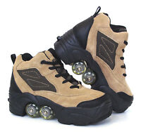 Quad KICK ROLLER Skates Shoes retractable WALKnROLL in/outdoor BNIB Beige Lea