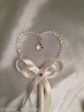 Heart wand  for wedding flower girl   Real crystal beads for Maximum sparkle