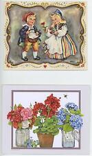 VINTAGE SWEDEN CHILD COSTUME LEMON CARAWAY COOKIE RECIPE PRINT & 1 FLOWER CARD