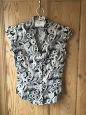 T.M.Lewin Ladies Cap Sleeve Fitted Blouse Size 8