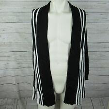 NY Collection Sweater Cardigan Womens Petite Medium PM Black White Striped