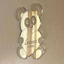 Panda Bear Heart Mirror Set Personalised Door Name Plaque Boy Girl Bed Room Sign