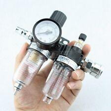 14 Air Pressure Compressor Filter Gauge Trap Oil Water Regulator Tools Kit New
