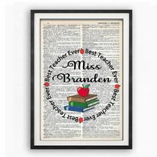 Personalized Best Teacher Ever Dictionary Art Print Contemporary Teachers Gift