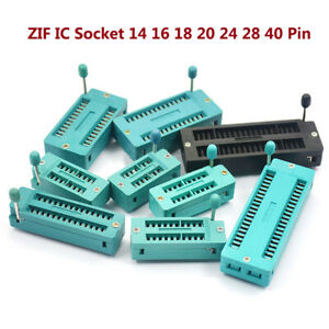 2.54MM ZIF IC Socket 14 16 18 20 24 28 40 Pin Adaptor Solder Test Universal PCB