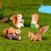 4Pcs Cute Mini Squirrel Animal Miniature Figurines Fairy Garden Ornaments  Decor