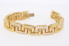 18k Yellow Gold 8.0ct Round Diamond Greek Key Link Bracelet 8.5 Inches (F, VS2)
