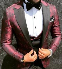 Designer Satin Bordeaux Schwarz Smoking Hochzeitsanzug Blumenmuster Weste Slim