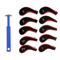 10Pcs Neoprene Zipper Golf Club Iron Head Cover + Golf Club Groove Sharpener