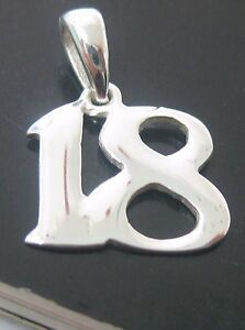 """(18 th BIRTHDAYS GIFT) 100% REAL 925 sterling silver  number """"18"""" PENDANT - GIRL"""