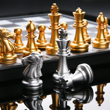 Medieval Foldable Chess Set Standard Magnetic Chessboard Gold Silver Board Game
