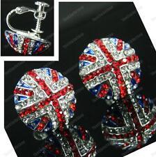 CLIP ON screw GB UNION JACK flag CRYSTAL EARRINGS rhinestone RED,BLUE silver plt