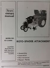 Sears Garden Tractor 3-Point Hitch 8 HP Roto-Spader Tiller Owner & Parts Manual