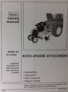 Sears Garden Tractor 3-Point 8 HP Roto Tiller Owner & Parts Manual 917.251880