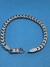 "925 Genuine Sterling Silver MENS SQUARE CZ CURB CHAIN BRACELET 8.5"""